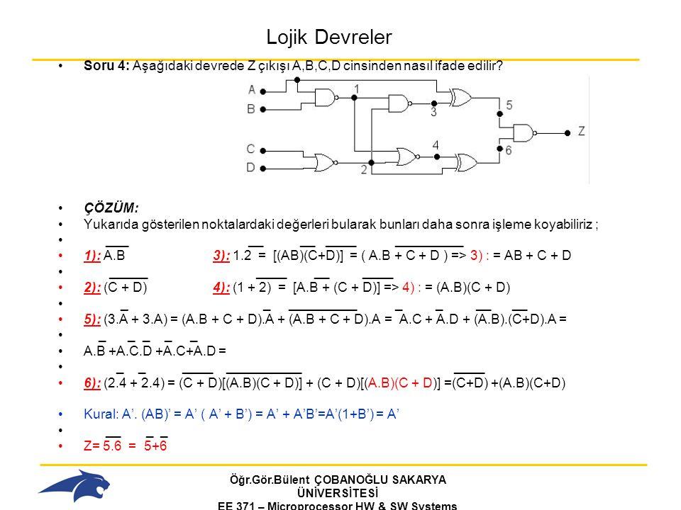 Öğr.Gör.Bülent ÇOBANOĞLU SAKARYA ÜNİVERSİTESİ EE 371 – Microprocessor HW & SW Systems Fall 2006 Lojik Devreler Soru 4: Aşağıdaki devrede Z çıkışı A,B,C,D cinsinden nasıl ifade edilir.