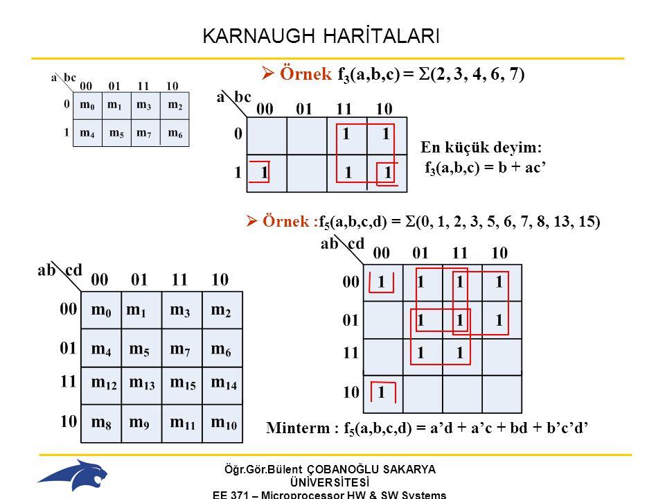 Öğr.Gör.Bülent ÇOBANOĞLU SAKARYA ÜNİVERSİTESİ EE 371 – Microprocessor HW & SW Systems Fall 2006 KARNAUGH HARİTALARI  Örnek f 3 (a,b,c) =  (2, 3, 4, 6, 7) En küçük deyim: f 3 (a,b,c) = b + ac'  Örnek :f 5 (a,b,c,d) =  (0, 1, 2, 3, 5, 6, 7, 8, 13, 15) Minterm : f 5 (a,b,c,d) = a'd + a'c + bd + b'c'd'
