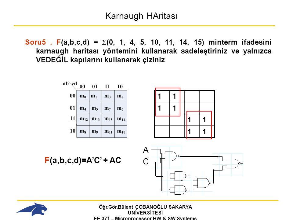 Öğr.Gör.Bülent ÇOBANOĞLU SAKARYA ÜNİVERSİTESİ EE 371 – Microprocessor HW & SW Systems Fall 2006 Karnaugh HAritası Soru5.