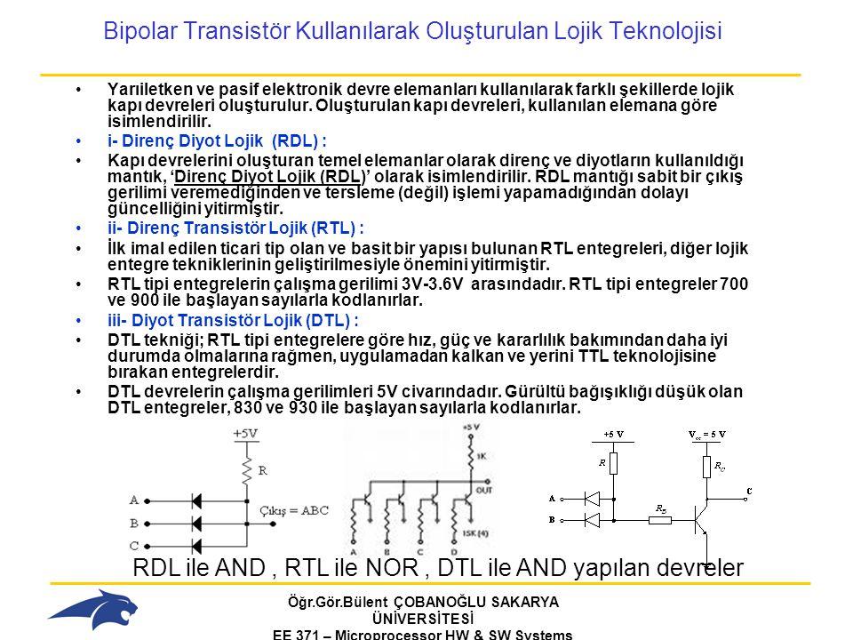 Öğr.Gör.Bülent ÇOBANOĞLU SAKARYA ÜNİVERSİTESİ EE 371 – Microprocessor HW & SW Systems Fall 2006 Bipolar Transistör Kullanılarak Oluşturulan Lojik Teknolojisi Yarıiletken ve pasif elektronik devre elemanları kullanılarak farklı şekillerde lojik kapı devreleri oluşturulur.