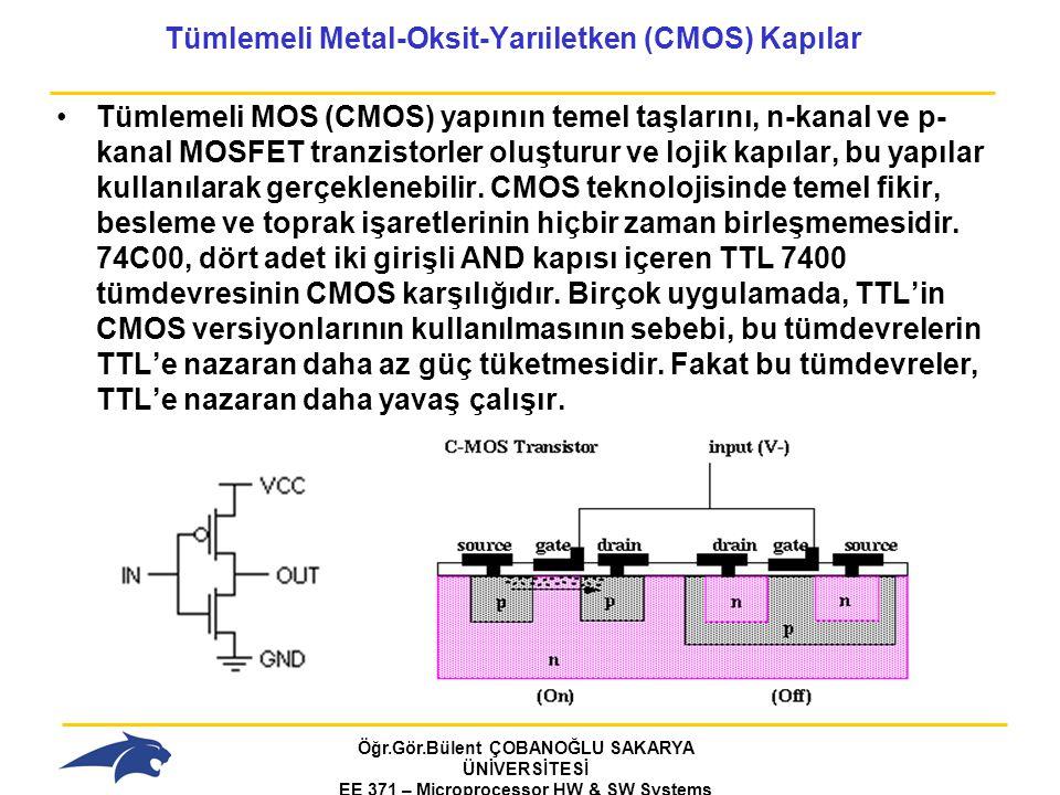 Öğr.Gör.Bülent ÇOBANOĞLU SAKARYA ÜNİVERSİTESİ EE 371 – Microprocessor HW & SW Systems Fall 2006 Tümlemeli Metal-Oksit-Yarıiletken (CMOS) Kapılar Tümlemeli MOS (CMOS) yapının temel taşlarını, n-kanal ve p- kanal MOSFET tranzistorler oluşturur ve lojik kapılar, bu yapılar kullanılarak gerçeklenebilir.
