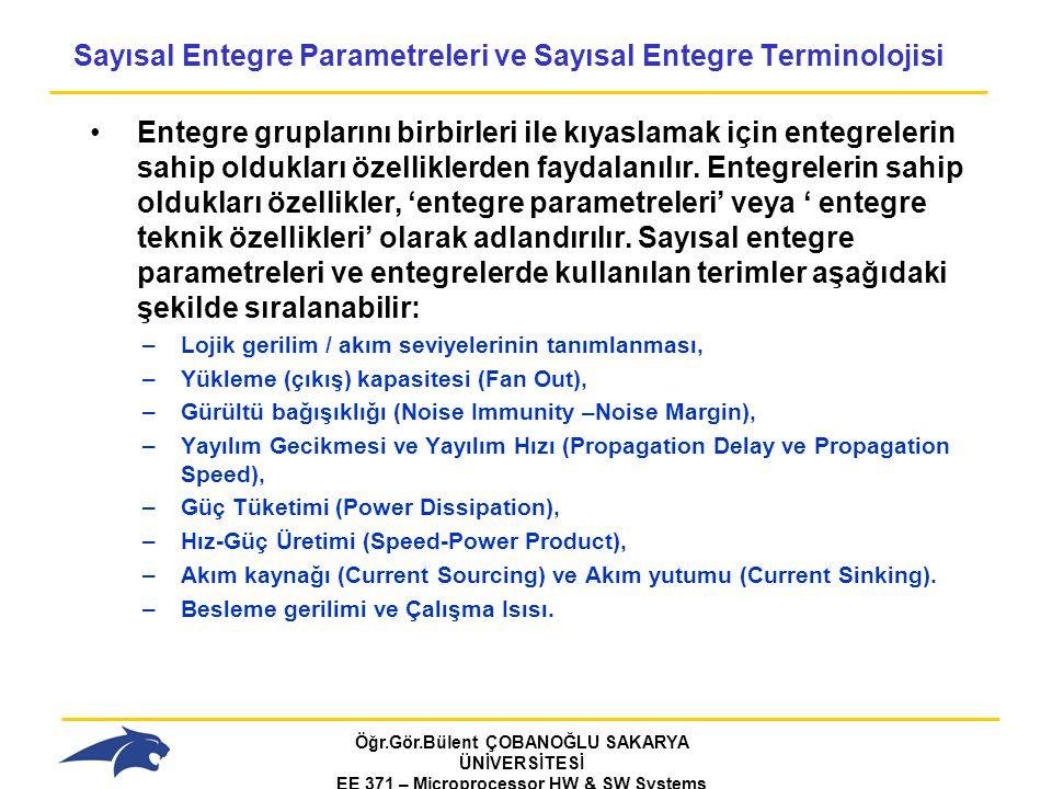 Öğr.Gör.Bülent ÇOBANOĞLU SAKARYA ÜNİVERSİTESİ EE 371 – Microprocessor HW & SW Systems Fall 2006 Sayısal Entegre Parametreleri ve Sayısal Entegre Terminolojisi Entegre gruplarını birbirleri ile kıyaslamak için entegrelerin sahip oldukları özelliklerden faydalanılır.