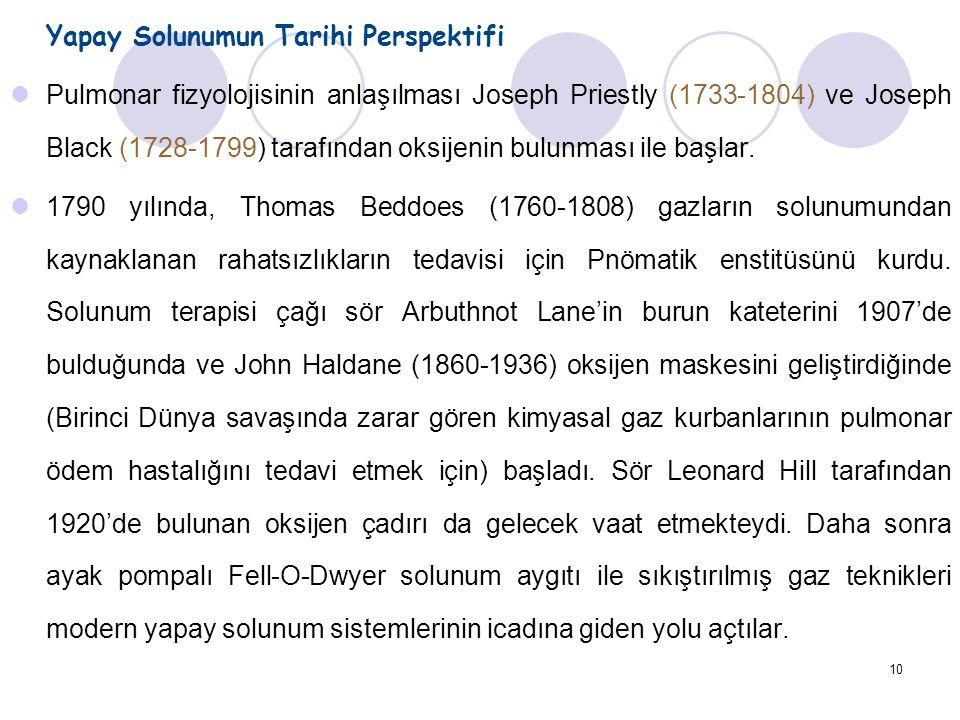 10 Yapay Solunumun Tarihi Perspektifi Pulmonar fizyolojisinin anlaşılması Joseph Priestly (1733-1804) ve Joseph Black (1728-1799) tarafından oksijenin bulunması ile başlar.