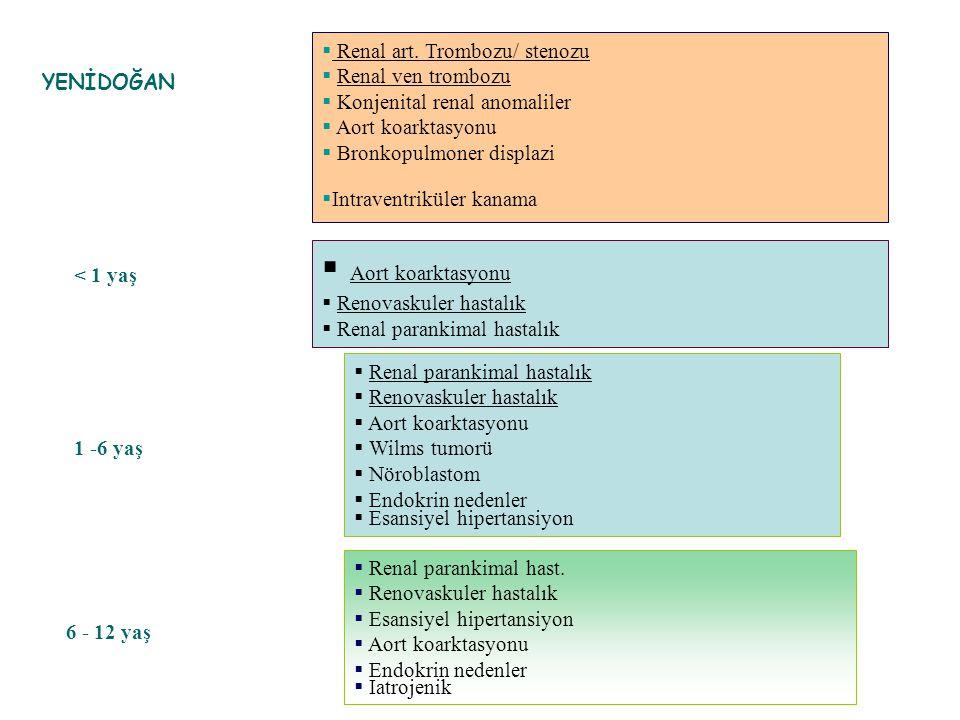  Renal art. Trombozu/ stenozu  Renal ven trombozu  Konjenital renal anomaliler  Aort koarktasyonu  Bronkopulmoner displazi  Intraventriküler kan