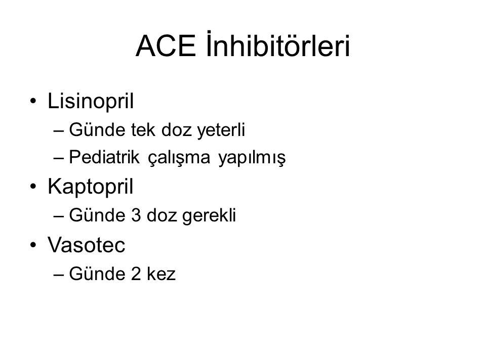 ACE İnhibitörleri Lisinopril –Günde tek doz yeterli –Pediatrik çalışma yapılmış Kaptopril –Günde 3 doz gerekli Vasotec –Günde 2 kez
