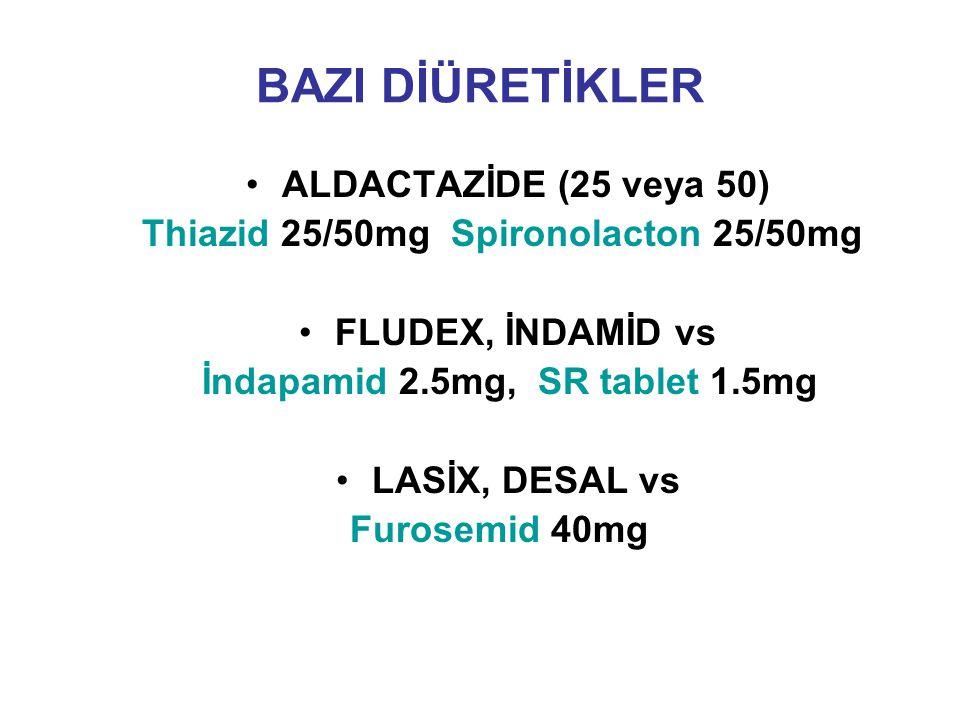 BAZI DİÜRETİKLER ALDACTAZİDE (25 veya 50) Thiazid 25/50mg Spironolacton 25/50mg FLUDEX, İNDAMİD vs İndapamid 2.5mg, SR tablet 1.5mg LASİX, DESAL vs Fu