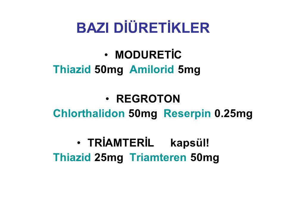 BAZI DİÜRETİKLER MODURETİC Thiazid 50mg Amilorid 5mg REGROTON Chlorthalidon 50mg Reserpin 0.25mg TRİAMTERİL kapsül! Thiazid 25mg Triamteren 50mg