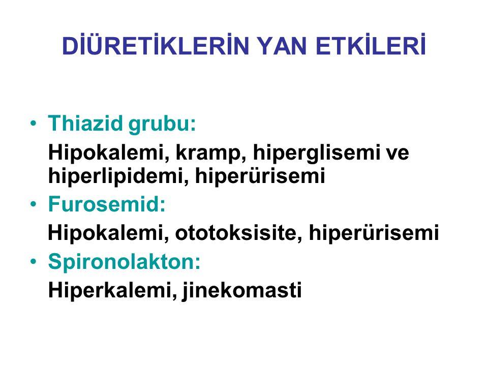 DİÜRETİKLERİN YAN ETKİLERİ Thiazid grubu: Hipokalemi, kramp, hiperglisemi ve hiperlipidemi, hiperürisemi Furosemid: Hipokalemi, ototoksisite, hiperüri