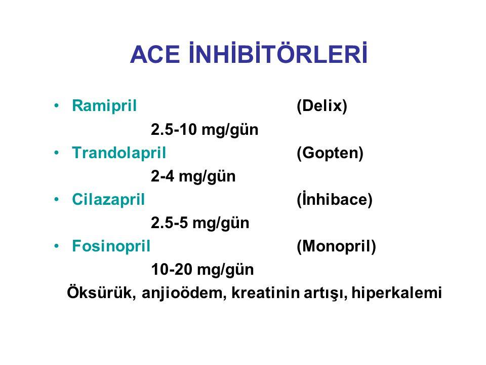 ACE İNHİBİTÖRLERİ Ramipril (Delix) 2.5-10 mg/gün Trandolapril (Gopten) 2-4 mg/gün Cilazapril (İnhibace) 2.5-5 mg/gün Fosinopril (Monopril) 10-20 mg/gü