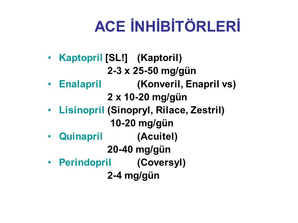 ACE İNHİBİTÖRLERİ Kaptopril [SL!] (Kaptoril) 2-3 x 25-50 mg/gün Enalapril (Konveril, Enapril vs) 2 x 10-20 mg/gün Lisinopril (Sinopryl, Rilace, Zestri