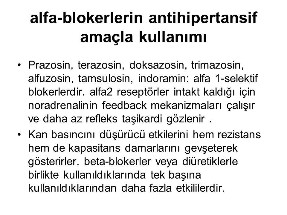 alfa-blokerlerin antihipertansif amaçla kullanımı Prazosin, terazosin, doksazosin, trimazosin, alfuzosin, tamsulosin, indoramin: alfa 1-selektif bloke