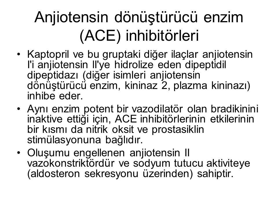Anjiotensin dönüştürücü enzim (ACE) inhibitörleri Kaptopril ve bu gruptaki diğer ilaçlar anjiotensin I'i anjiotensin lI'ye hidrolize eden dipeptidil d