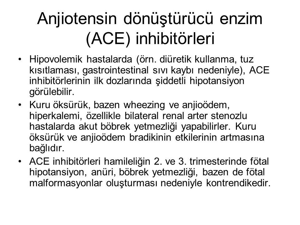 Anjiotensin dönüştürücü enzim (ACE) inhibitörleri Hipovolemik hastalarda (örn. diüretik kullanma, tuz kısıtlaması, gastrointestinal sıvı kaybı nedeniy