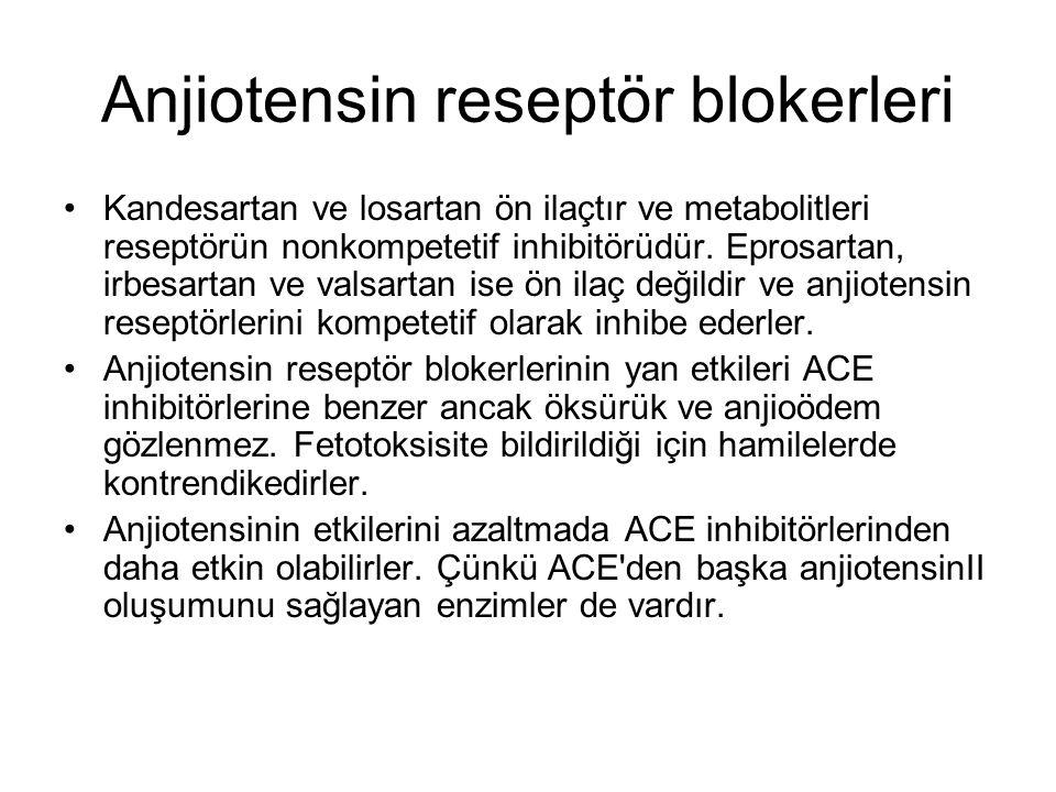 Anjiotensin reseptör blokerleri Kandesartan ve losartan ön ilaçtır ve metabolitleri reseptörün nonkompetetif inhibitörüdür. Eprosartan, irbesartan ve