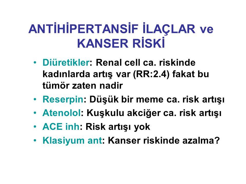 ANTİHİPERTANSİF İLAÇLAR ve KANSER RİSKİ Diüretikler: Renal cell ca. riskinde kadınlarda artış var (RR:2.4) fakat bu tümör zaten nadir Reserpin: Düşük
