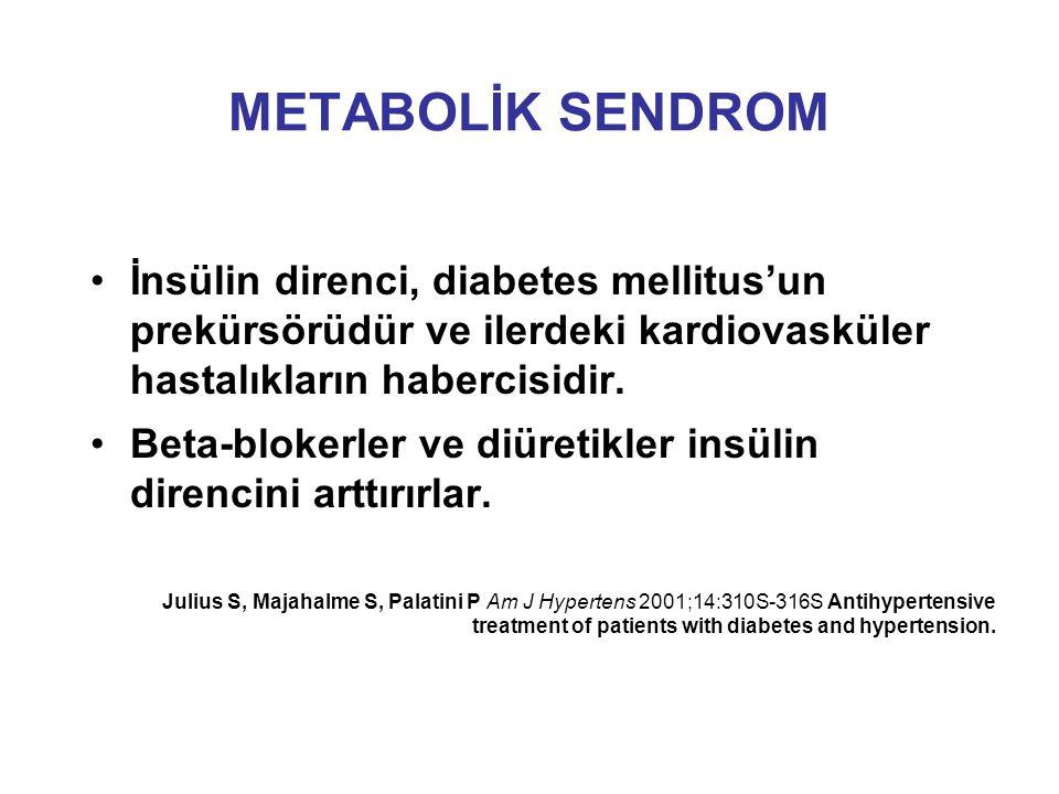 METABOLİK SENDROM İnsülin direnci, diabetes mellitus'un prekürsörüdür ve ilerdeki kardiovasküler hastalıkların habercisidir. Beta-blokerler ve diüreti