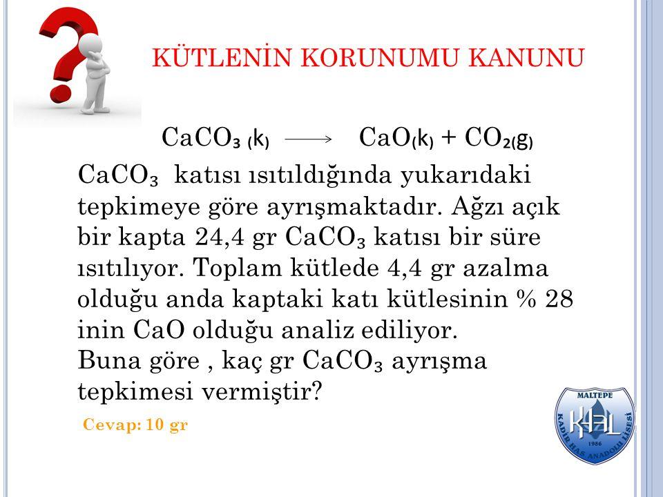 KÜTLENİN KORUNUMU KANUNU CaCO ₃ ₍k₎ CaO ₍k₎ + CO ₂₍g₎ CaCO ₃ katısı ısıtıldığında yukarıdaki tepkimeye göre ayrışmaktadır. Ağzı açık bir kapta 24,4 gr