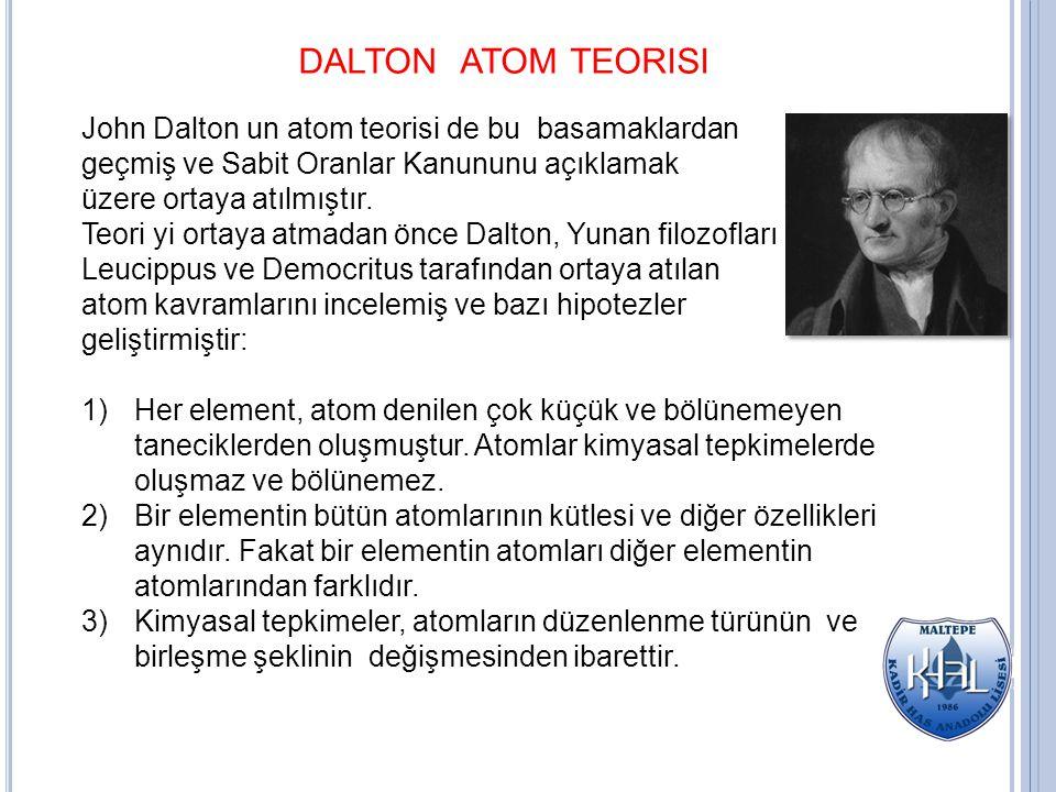 DALTON ATOM TEORISI John Dalton un atom teorisi de bu basamaklardan geçmiş ve Sabit Oranlar Kanununu açıklamak üzere ortaya atılmıştır. Teori yi ortay