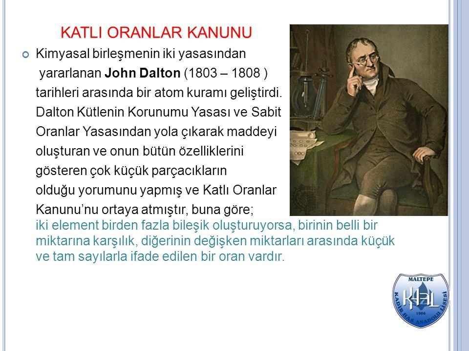 KATLI ORANLAR KANUNU Kimyasal birleşmenin iki yasasından yararlanan John Dalton (1803 – 1808 ) tarihleri arasında bir atom kuramı geliştirdi. Dalton K