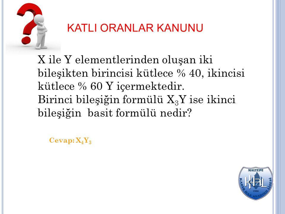 KATLI ORANLAR KANUNU X ile Y elementlerinden oluşan iki bileşikten birincisi kütlece % 40, ikincisi kütlece % 60 Y içermektedir. Birinci bileşiğin for