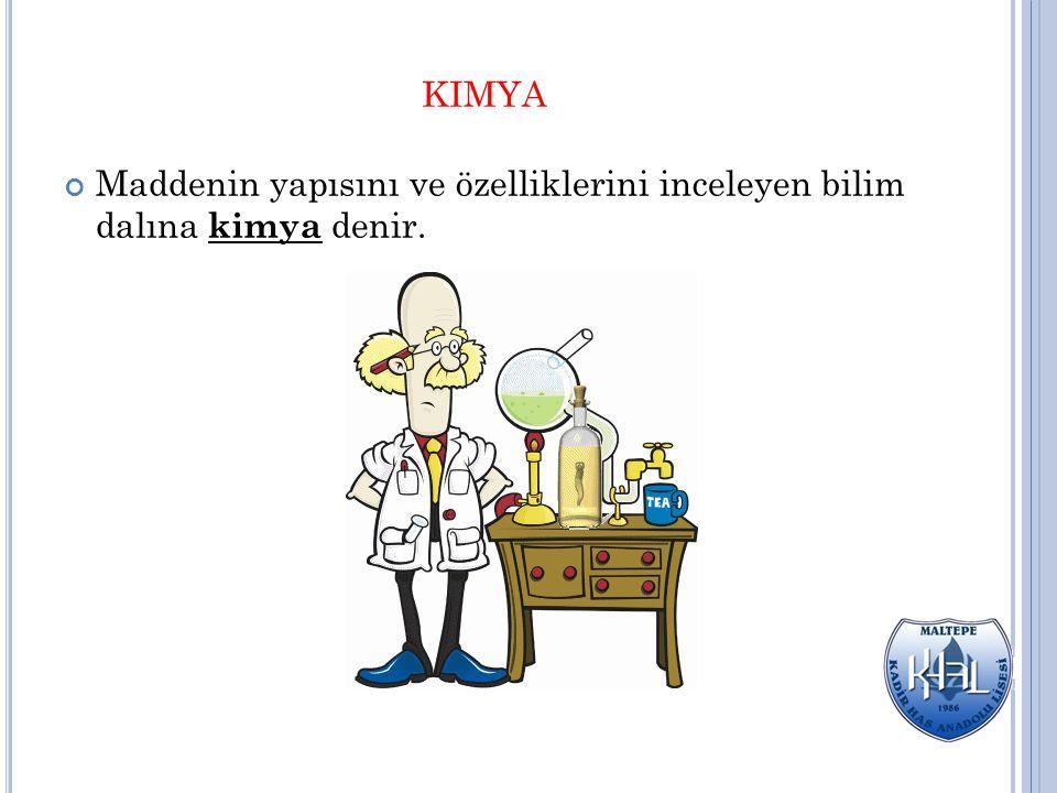 KIMYA Maddenin yapısını ve özelliklerini inceleyen bilim dalına kimya denir.
