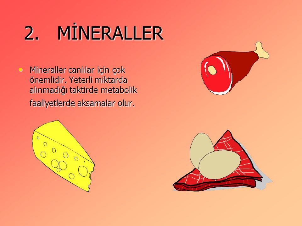 2.MİNERALLER 2. MİNERALLER Mineraller canlılar için çok önemlidir.