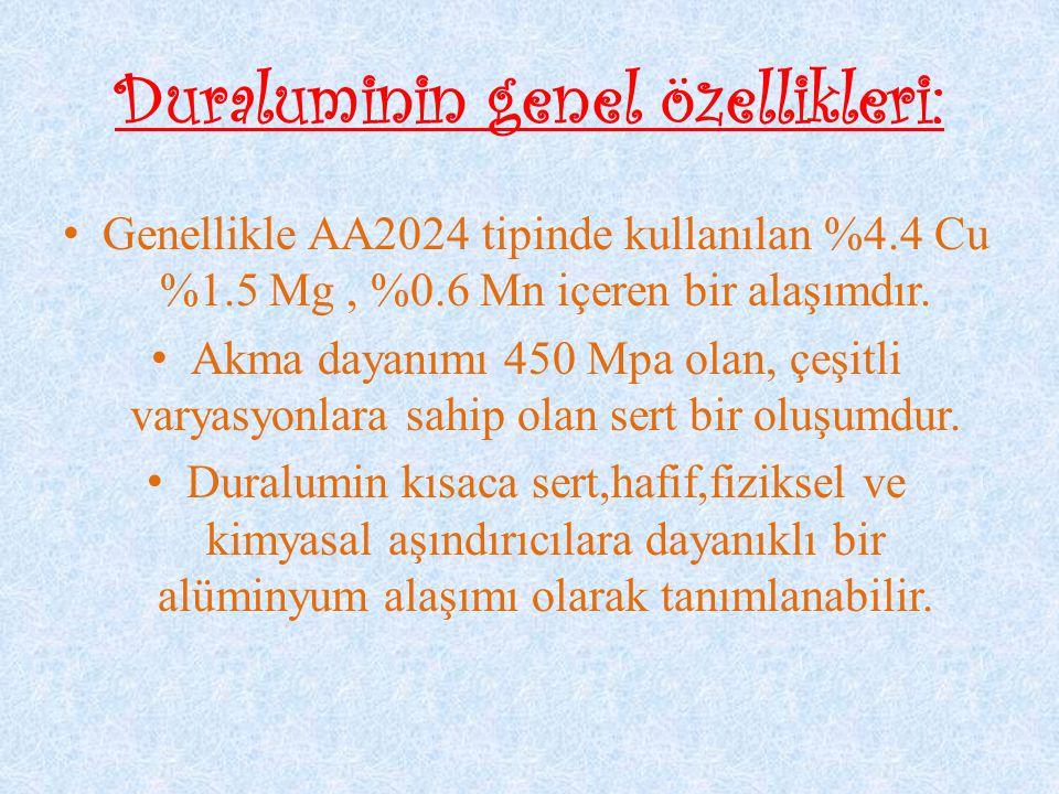 Duraluminin genel özellikleri: Genellikle AA2024 tipinde kullanılan %4.4 Cu %1.5 Mg, %0.6 Mn içeren bir alaşımdır. Akma dayanımı 450 Mpa olan, çeşitli