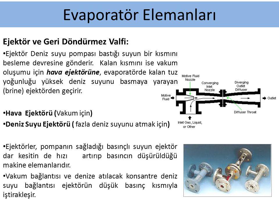Ejektör ve Geri Döndürmez Valfi: Ejektör Deniz suyu pompası bastığı suyun bir kısmını besleme devresine gönderir. Kalan kısmını ise vakum oluşumu için