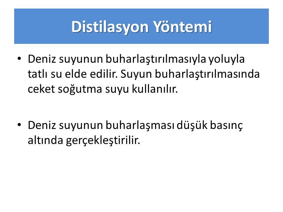 Distilasyon Yöntemi Deniz suyunun buharlaştırılmasıyla yoluyla tatlı su elde edilir.