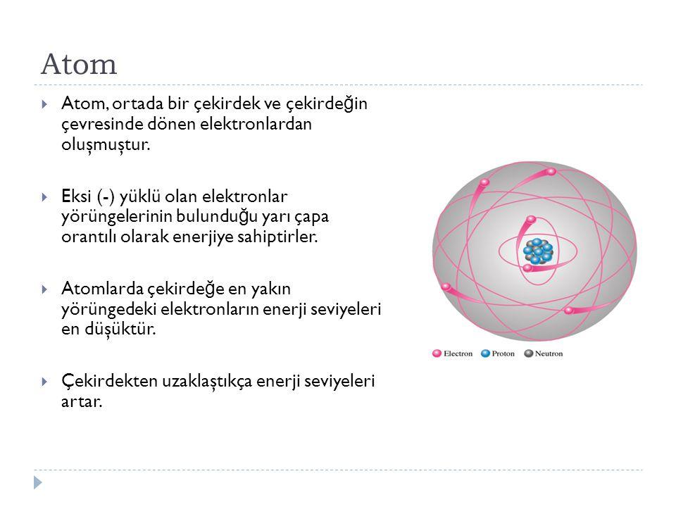 Atom  Atom, ortada bir çekirdek ve çekirde ğ in çevresinde dönen elektronlardan oluşmuştur.  Eksi (-) yüklü olan elektronlar yörüngelerinin bulundu