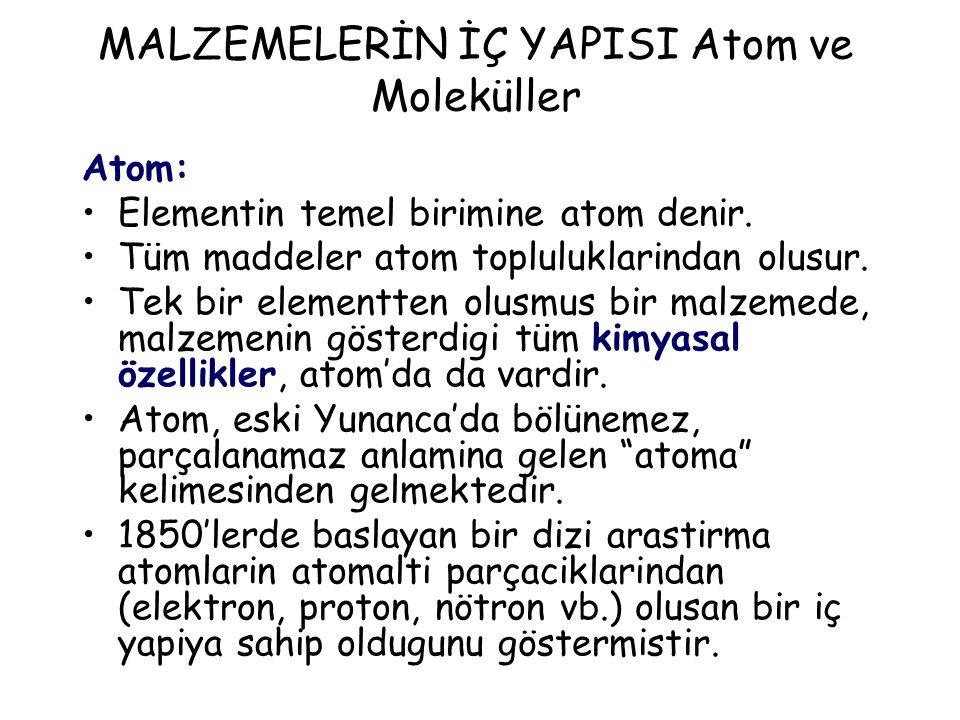 Atom: Elementin temel birimine atom denir. Tüm maddeler atom topluluklarindan olusur. Tek bir elementten olusmus bir malzemede, malzemenin gösterdigi