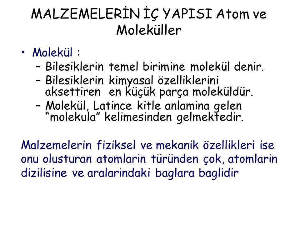 MALZEMELERİN İÇ YAPISI Atom ve Moleküller Molekül : –Bilesiklerin temel birimine molekül denir.