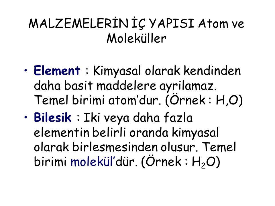 MALZEMELERİN İÇ YAPISI Atom ve Moleküller Element : Kimyasal olarak kendinden daha basit maddelere ayrilamaz. Temel birimi atom'dur. (Örnek : H,O) Bil