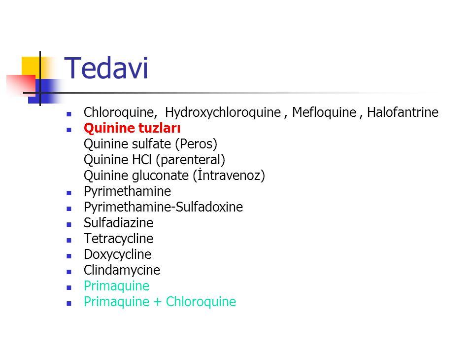 Tedavi Chloroquine, Hydroxychloroquine, Mefloquine, Halofantrine Quinine tuzları Quinine sulfate (Peros) Quinine HCl (parenteral) Quinine gluconate (İntravenoz) Pyrimethamine Pyrimethamine-Sulfadoxine Sulfadiazine Tetracycline Doxycycline Clindamycine Primaquine Primaquine + Chloroquine