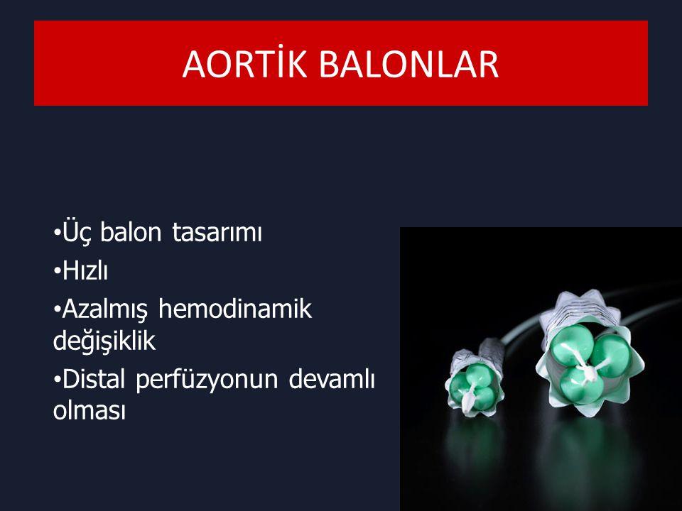 AORTİK BALONLAR Üç balon tasarımı Hızlı Azalmış hemodinamik değişiklik Distal perfüzyonun devamlı olması