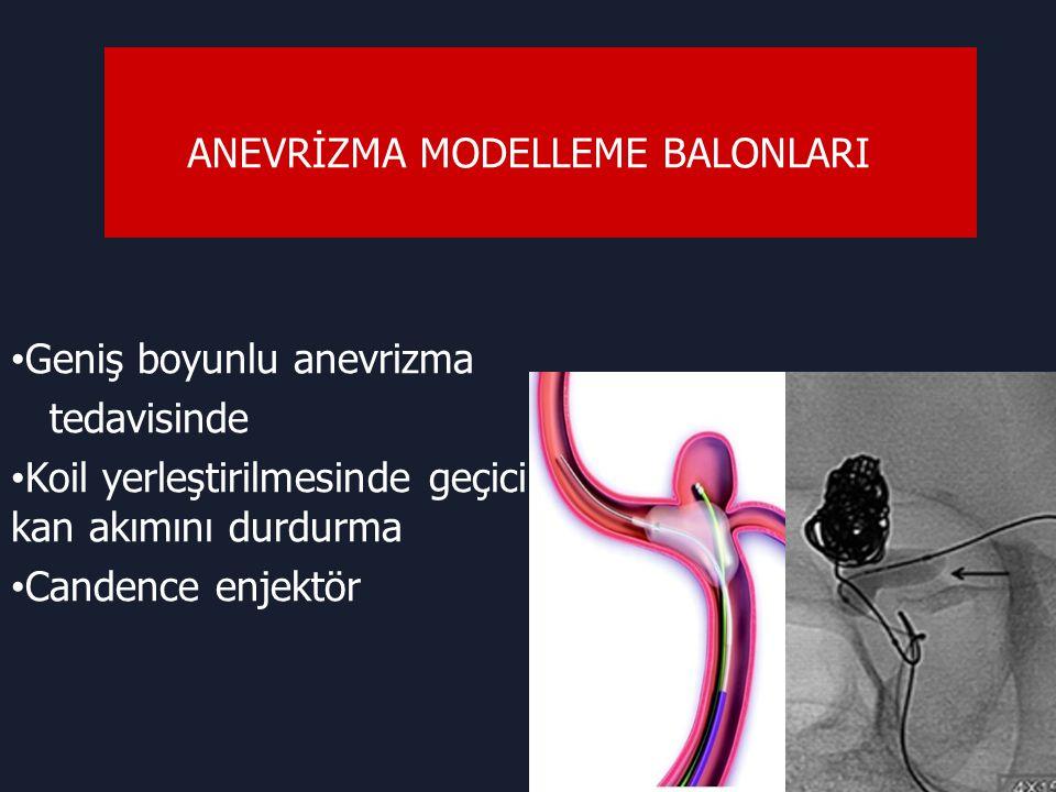 ANEVRİZMA MODELLEME BALONLARI Geniş boyunlu anevrizma tedavisinde Koil yerleştirilmesinde geçici kan akımını durdurma Candence enjektör