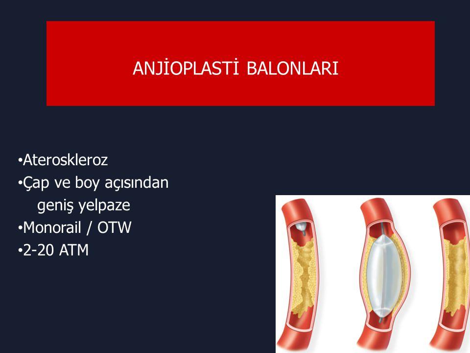 ANJİOPLASTİ BALONLARI Ateroskleroz Çap ve boy açısından geniş yelpaze Monorail / OTW 2-20 ATM