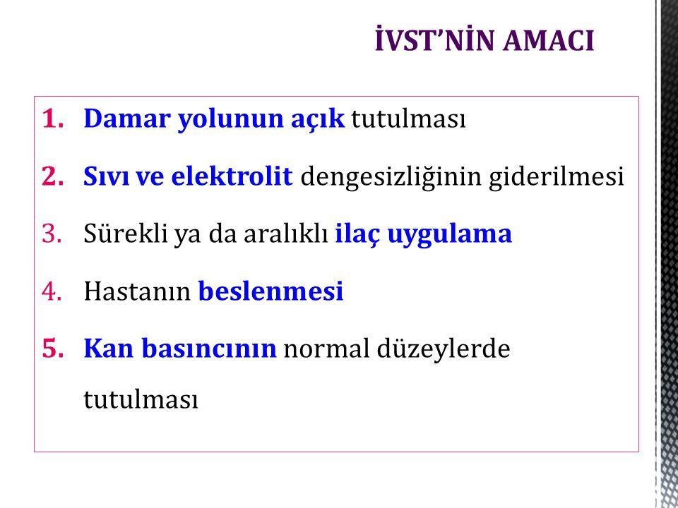 Santral venöz kateterler  İnternal juguler venler  Eksternal juguler venler  Subklavyen venlere 3 tip :  Tünelsiz  Deri tünelli  Taşınabilir port Santral Venöz Kateterler
