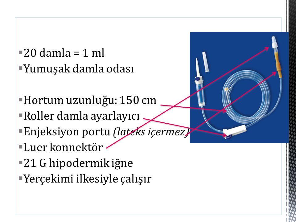 20 damla = 1 ml  Yumuşak damla odası  Hortum uzunluğu: 150 cm  Roller damla ayarlayıcı  Enjeksiyon portu (lateks içermez)  Luer konnektör  21