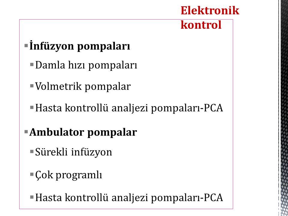  İnfüzyon pompaları  Damla hızı pompaları  Volmetrik pompalar  Hasta kontrollü analjezi pompaları-PCA  Ambulator pompalar  Sürekli infüzyon  Ço