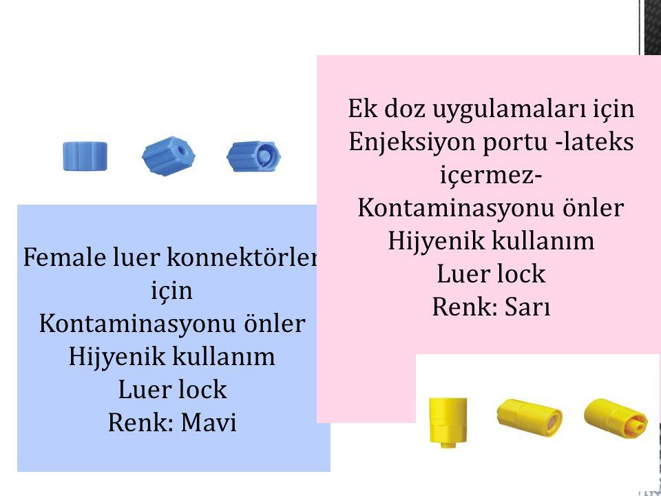 Female luer konnektörler için Kontaminasyonu önler Hijyenik kullanım Luer lock Renk: Mavi Ek doz uygulamaları için Enjeksiyon portu -lateks içermez- K
