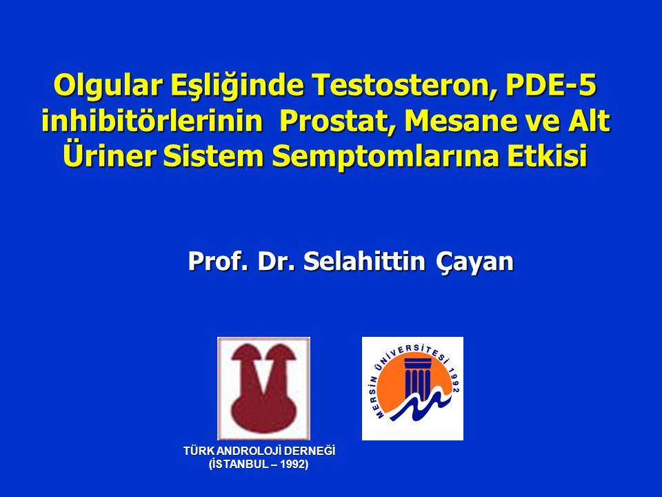 Olgu 2  TRUS guided prostat Bx: BPH  Testosteron tedavisi (6 ay)  Cinsel fonksiyonlarda belirgin iyileşme  IIEF: 13  21  AMS: 52  36  Testosteron: 2.4 ng/ml.