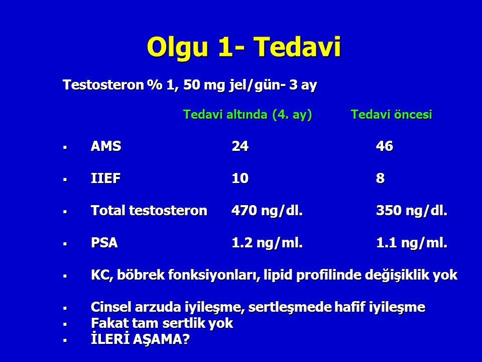 Olgu 1- Tedavi Testosteron % 1, 50 mg jel/gün- 3 ay Tedavi altında (4. ay) Tedavi öncesi  AMS24 46  IIEF10 8  Total testosteron470 ng/dl.350 ng/dl.