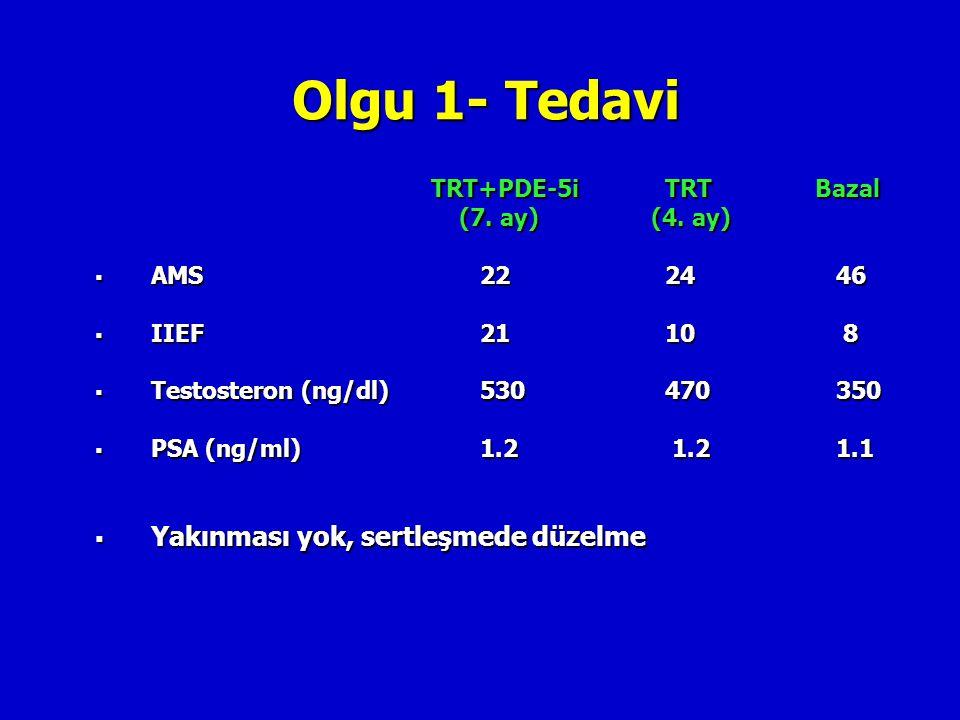 Olgu 1- Tedavi TRT+PDE-5i TRT Bazal (7. ay) (4. ay) (7. ay) (4. ay)  AMS 22 24 46  IIEF 21 10 8  Testosteron (ng/dl) 530 470 350  PSA (ng/ml) 1.2