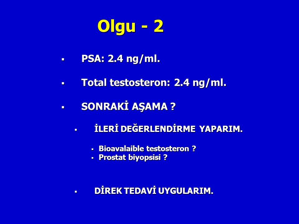 Olgu - 2  PSA: 2.4 ng/ml.  Total testosteron: 2.4 ng/ml.  SONRAKİ AŞAMA ?  İLERİ DEĞERLENDİRME YAPARIM.  Bioavalaible testosteron ?  Prostat biy