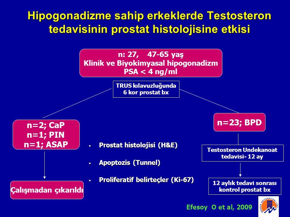 n: 27, 47-65 yaş Klinik ve Biyokimyasal hipogonadizm PSA < 4 ng/ml n=2; CaP n=1; PIN n=1; ASAP n=23; BPD TRUS kılavuzluğunda 6 kor prostat bx Çalışmad