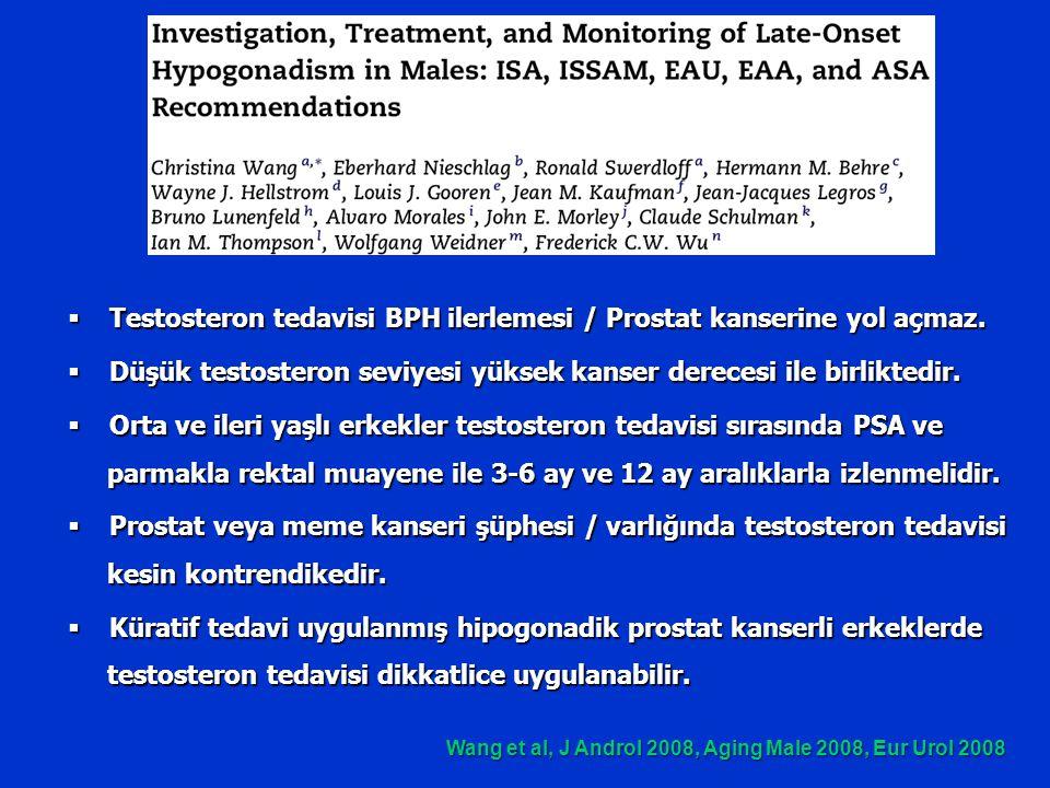  Testosteron tedavisi BPH ilerlemesi / Prostat kanserine yol açmaz.  Düşük testosteron seviyesi yüksek kanser derecesi ile birliktedir.  Orta ve il