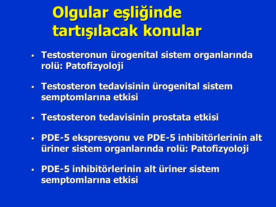 Testosteron – Alt Üriner Sistem Üzerine Rolü  Metabolik sendrom-LUTS ilişkisi: Otonom hiperaktivitesi  Androjen reseptör aktivasyonu  Mesanede testosteron bağımlı NO üretimi Yassin et al, World J Urol, 2008 Nöral Endokrin Vasküler Yapısal
