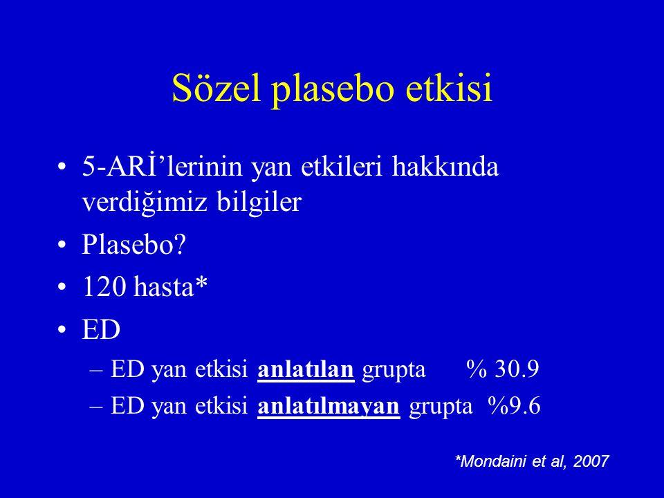 Sözel plasebo etkisi 5-ARİ'lerinin yan etkileri hakkında verdiğimiz bilgiler Plasebo? 120 hasta* ED –ED yan etkisi anlatılan grupta % 30.9 –ED yan etk