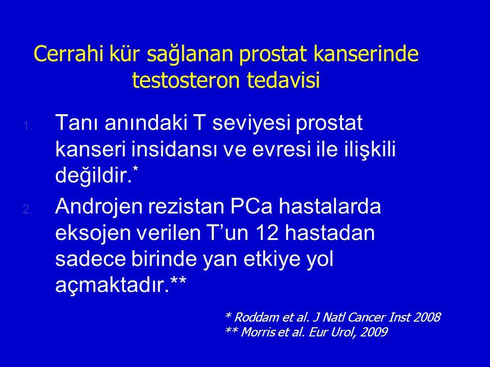 Cerrahi kür sağlanan prostat kanserinde testosteron tedavisi 1. Tanı anındaki T seviyesi prostat kanseri insidansı ve evresi ile ilişkili değildir. *